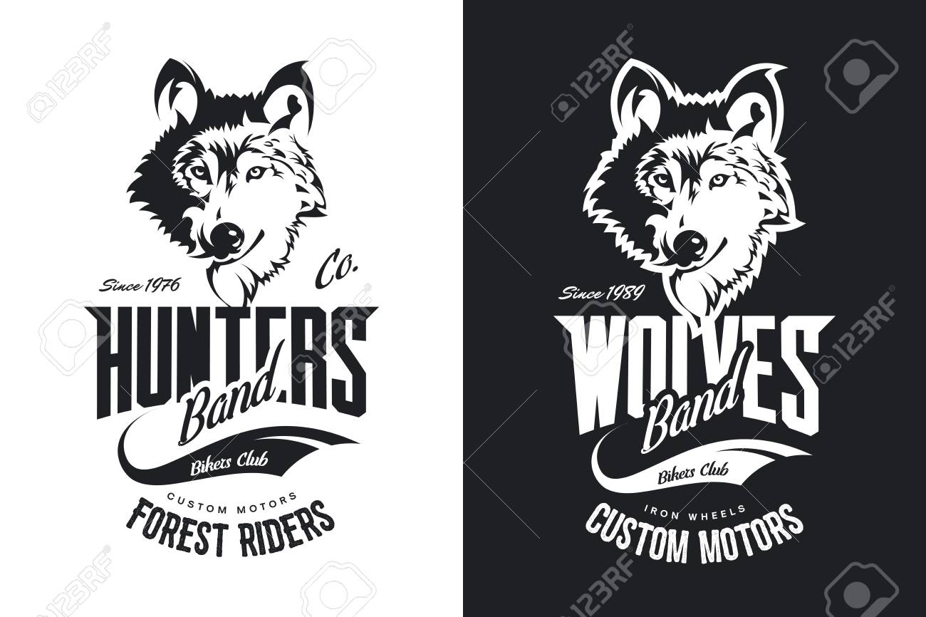 Black And White Motor Bike T Shirt With Custom Wolves Design