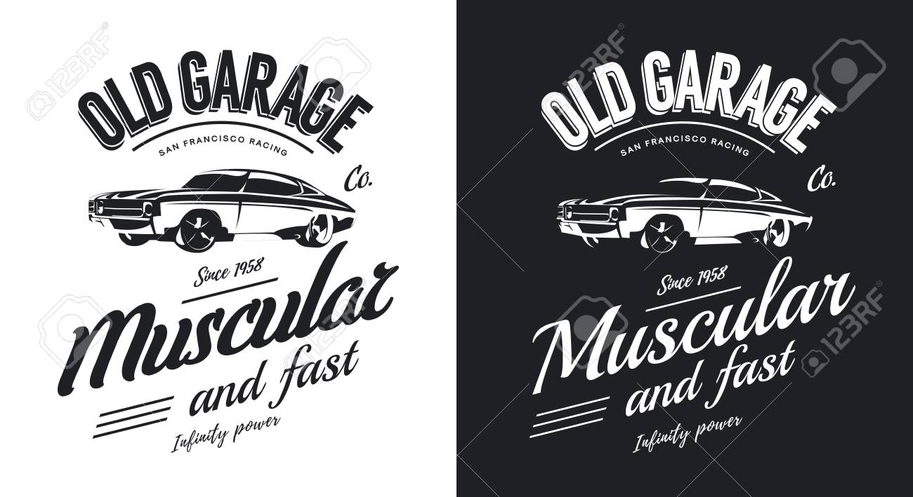 Vintage Muscle Car Black And White Isolated Vector Logo Premium