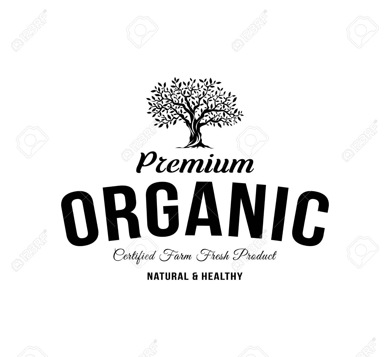 Organic Natural And Healthy Farm Fresh Food Retro Emblem Vintage Olive Tree Logo Isolated On