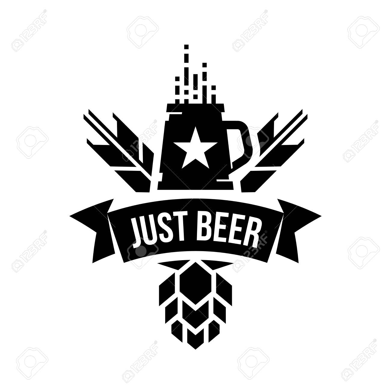 Modern round craft beer drink vector logo sign for bar, pub, store, brewhouse or brewery isolated on white background. Premium quality mug logotype illustration. Brewing fest t-shirt badge design. - 120438736