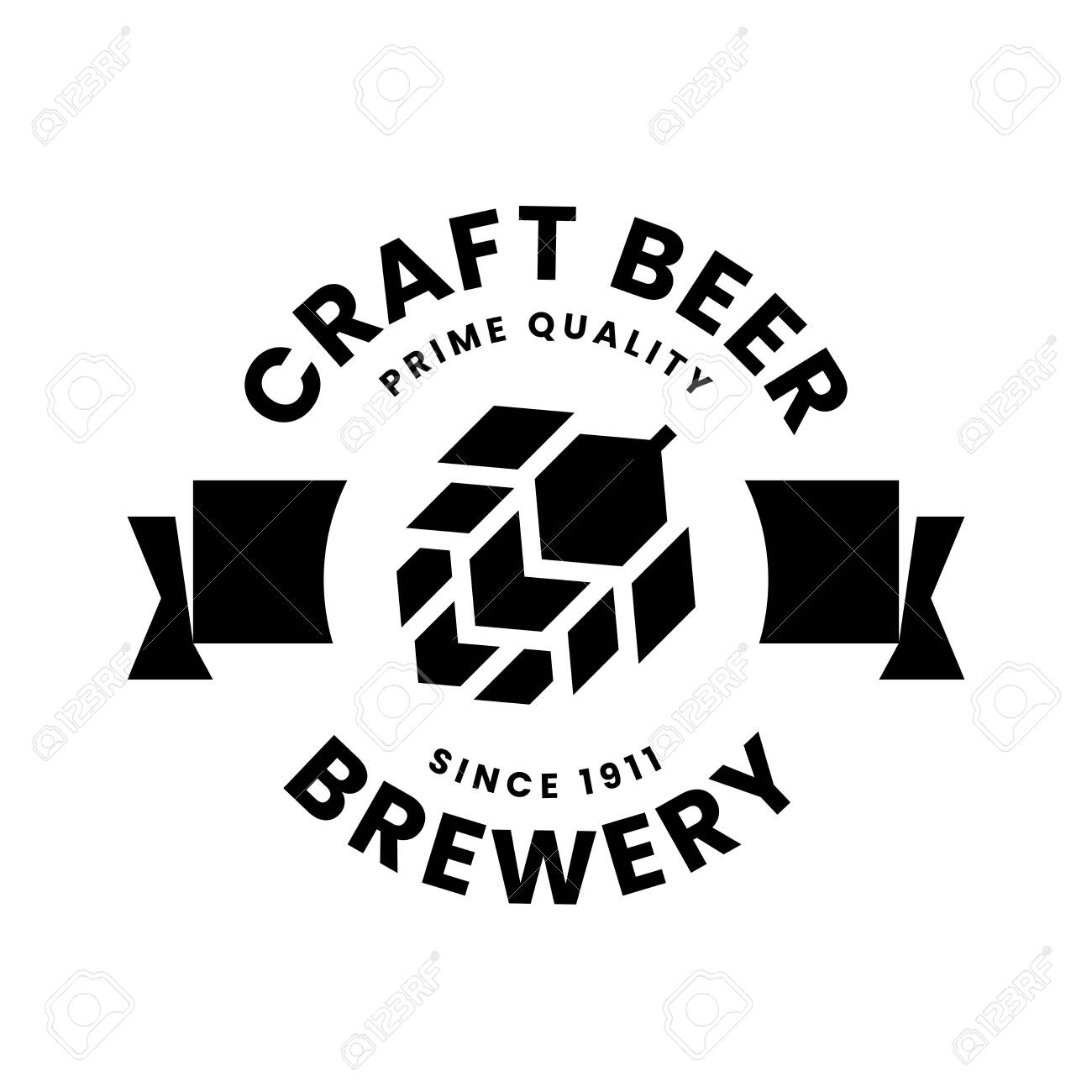 Modern round craft beer drink vector logo sign for bar, pub, store, brewhouse or brewery isolated on white background. Premium quality hop logotype illustration. Brewing fest t-shirt badge design. - 120438740