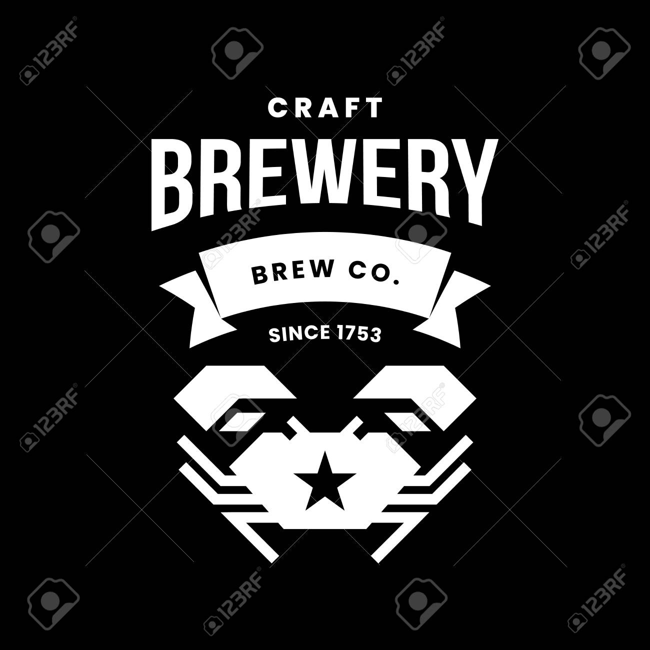 Modern craft beer drink vector logo sign for bar, pub, store, brewhouse or brewery isolated on black background. Premium quality crab logotype illustration. Brewing fest fashion t-shirt badge design. - 120438738
