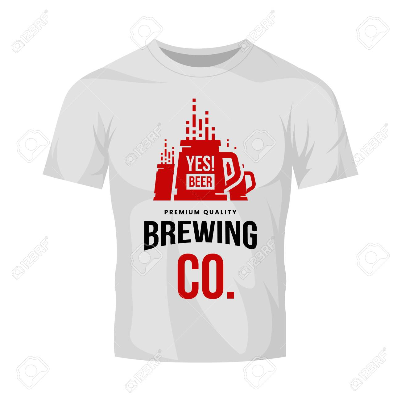 Modern craft beer drink vector logo sign for bar, pub, store, brewhouse or brewery isolated on white t-shirt mock up. Premium quality mug logotype illustration. Brewing fest fashion badge design. - 120438752