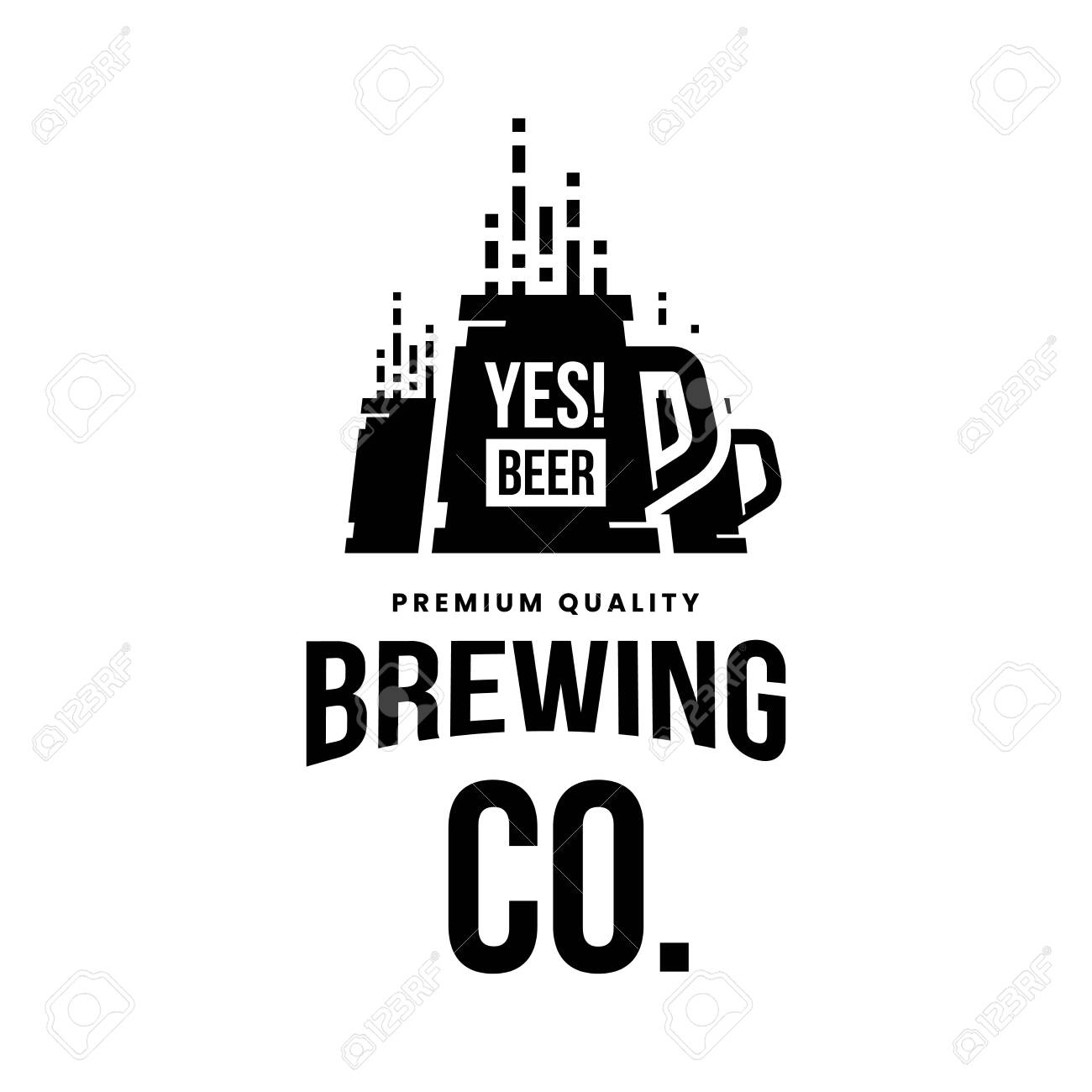 Modern craft beer drink vector logo sign for bar, pub, store, brewhouse or brewery isolated on white background. Premium quality mug logotype illustration. Brewing fest fashion t-shirt badge design. - 120438754