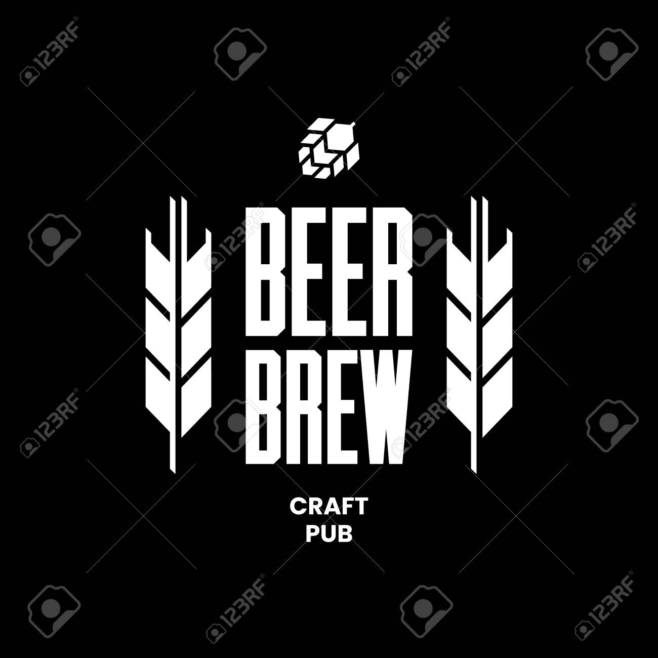 Modern craft beer drink vector logo sign for bar, pub, store, brewhouse or brewery isolated on black background. Premium quality emblem logotype illustration. Brewing fest fashion t-shirt badge design. - 120438756