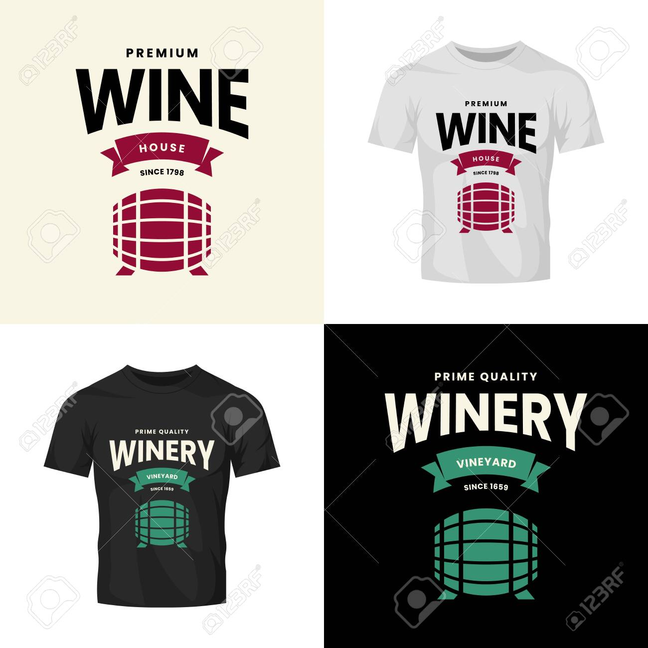 Modern wine vector isolated logo collection for tavern, restaurant, house, shop, store, club and cellar. Premium quality vinery logotype illustration set. Fashion brand badge design template bundle. - 120438766