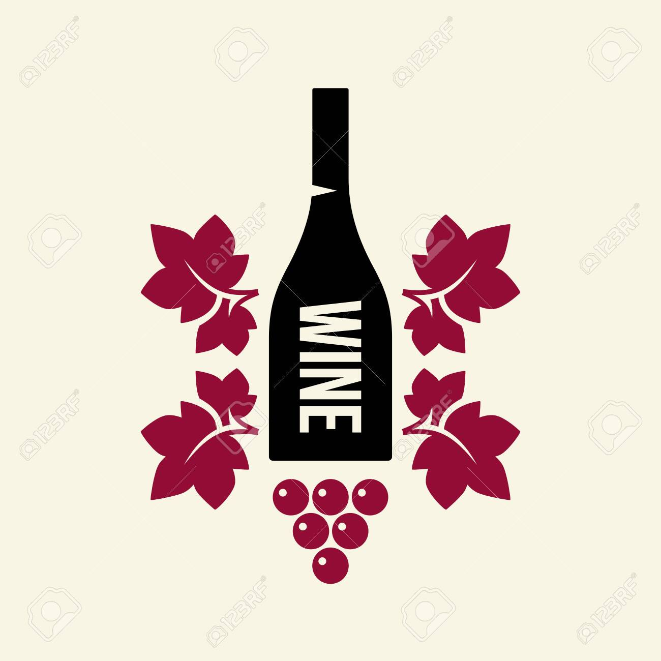 Modern wine vector logo sign for tavern, restaurant, house, shop, store, club and cellar isolated on light background. Premium quality vinery logotype illustration. Fashion brand badge design template. - 120438775