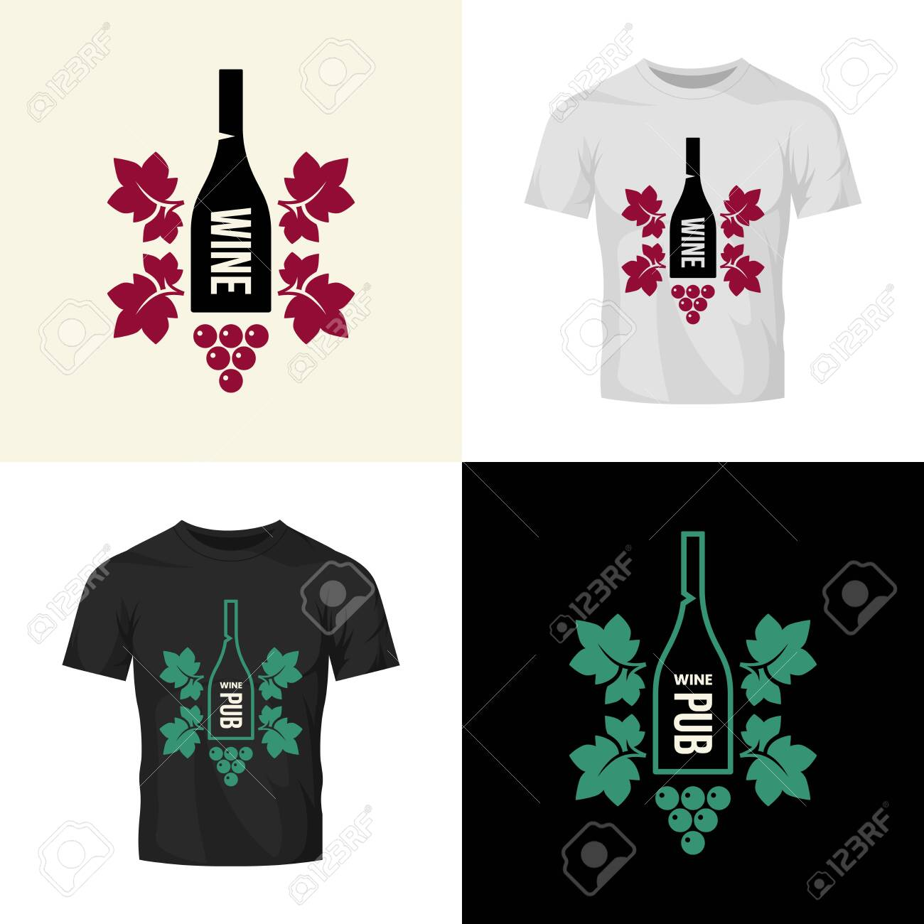 Modern wine vector isolated logo collection for tavern, restaurant, house, shop, store, club and cellar. Premium quality vinery logotype illustration set. Fashion brand badge design template bundle. - 120438777