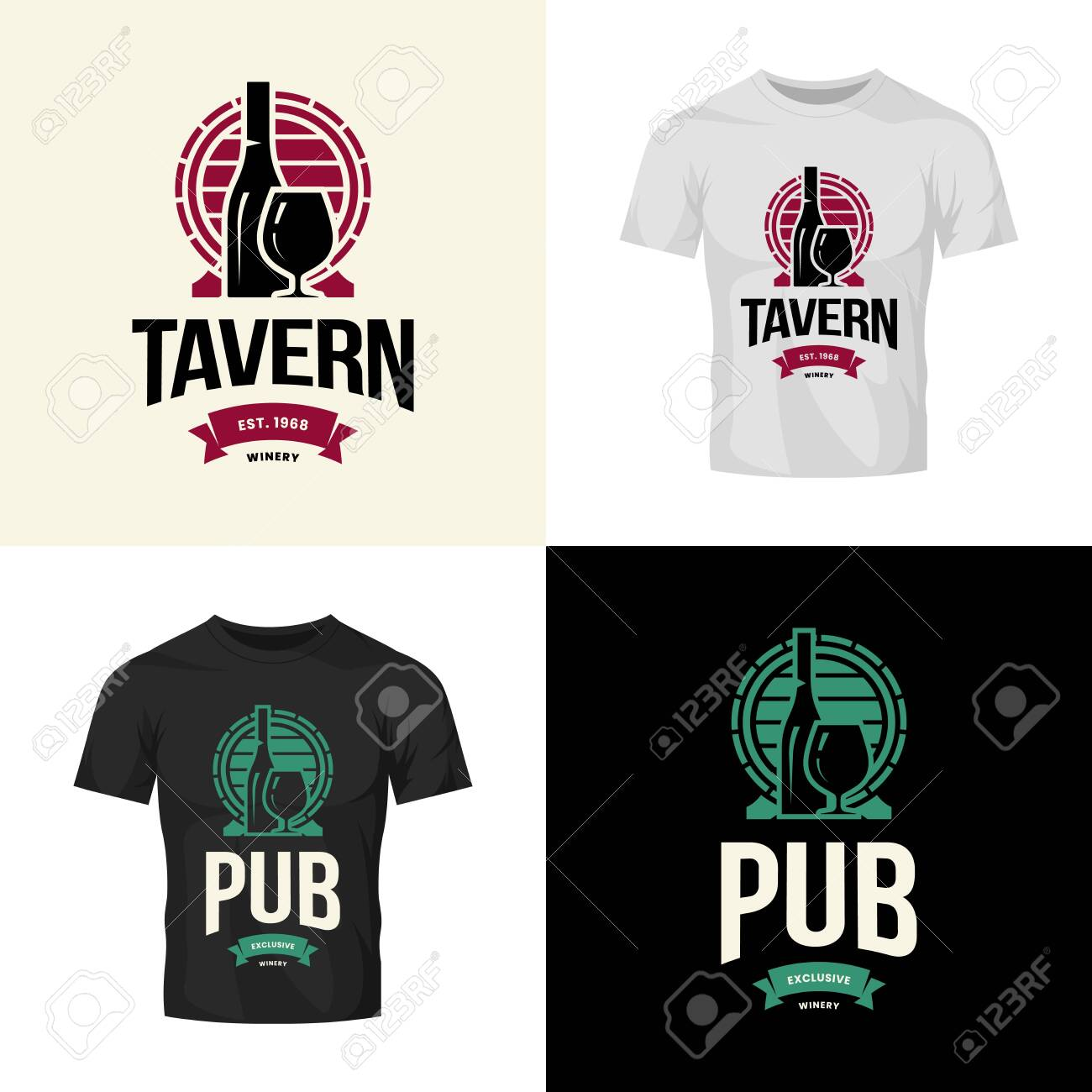 Modern wine vector isolated logo collection for tavern, restaurant, house, shop, store, club and cellar. Premium quality vinery logotype illustration set. Fashion brand badge design template bundle. - 120438779