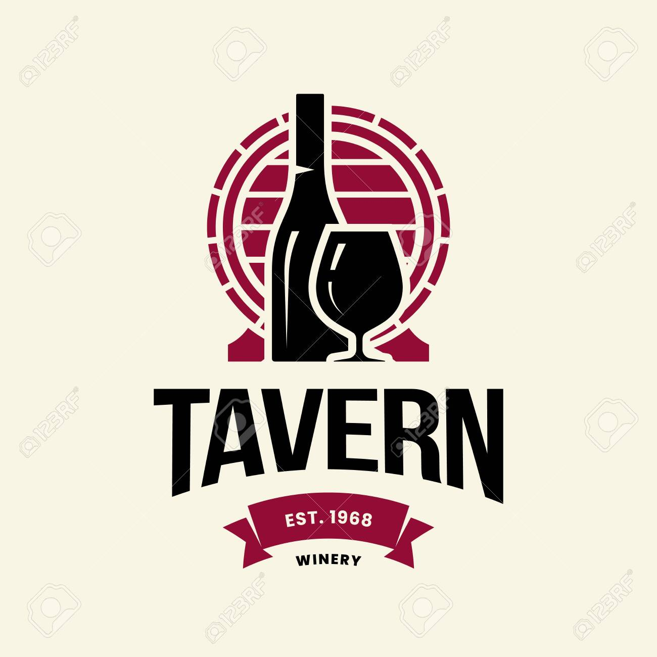 Modern wine vector logo sign for tavern, restaurant, house, shop, store, club and cellar isolated on light background. Premium quality vinery logotype illustration. Fashion brand badge design template. - 120438782