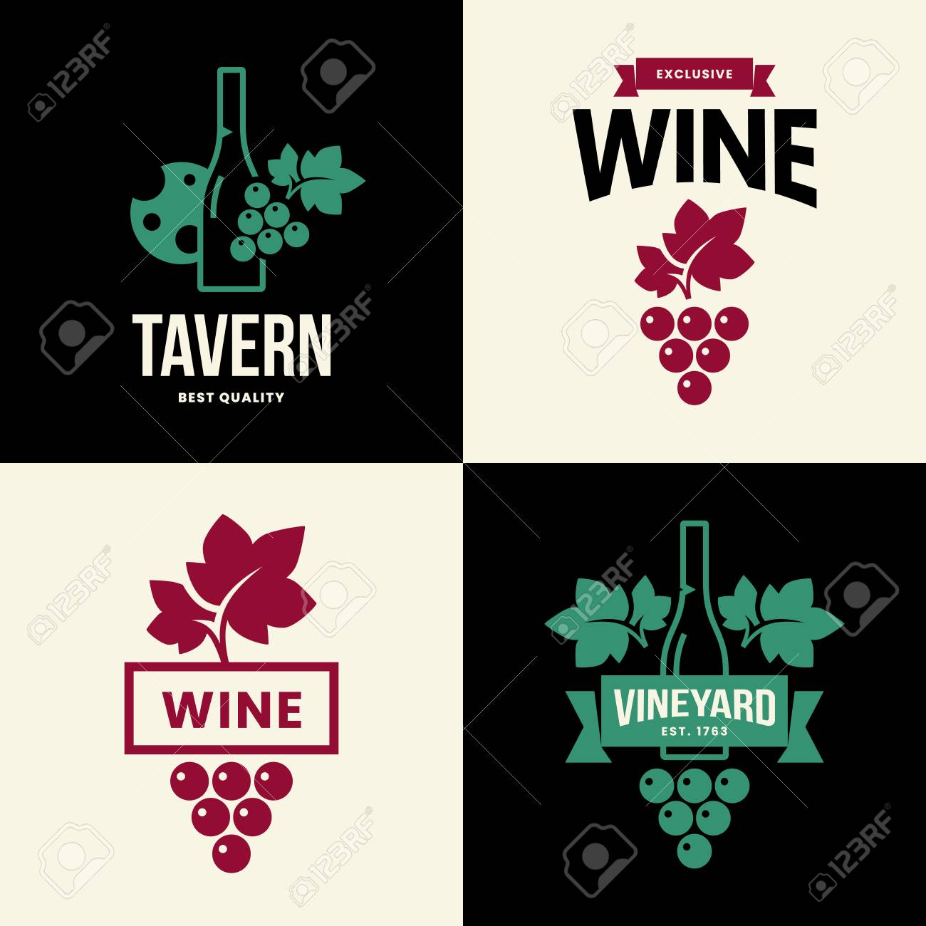 Modern wine vector isolated logo collection for tavern, restaurant, house, shop, store, club and cellar. Premium quality vinery logotype illustration set. Fashion brand badge design template bundle. - 120438786