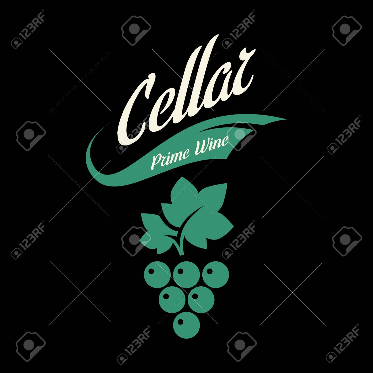 Modern wine vector logo sign for tavern, restaurant, house, shop, store, club and cellar isolated on black background. Premium quality vinery logotype illustration. Fashion brand badge design template. - 120438788