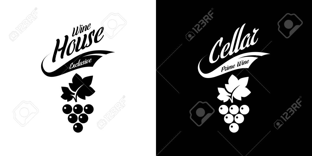 Modern wine vector isolated logo sign for pub, tavern, restaurant, house, shop, store, club and cellar. Premium quality vinery logotype illustration set. Fashion brand badge design template bundle. - 120438789