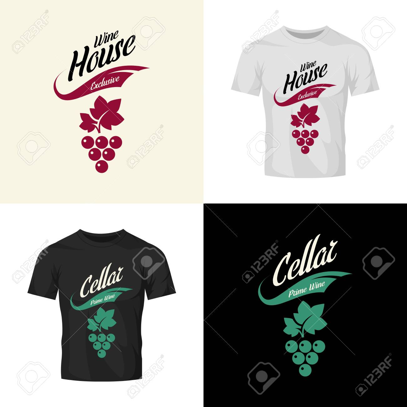 Modern wine vector isolated logo collection for tavern, restaurant, house, shop, store, club and cellar. Premium quality vinery logotype illustration set. Fashion brand badge design template bundle. - 120438790