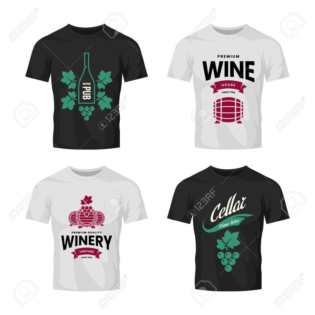 Modern wine vector logo collection for tavern, restaurant, house, shop, store, club and cellar on t-shirt mock up. Premium quality vinery logotype illustration set. Brand badge design template bundle. - 120438791