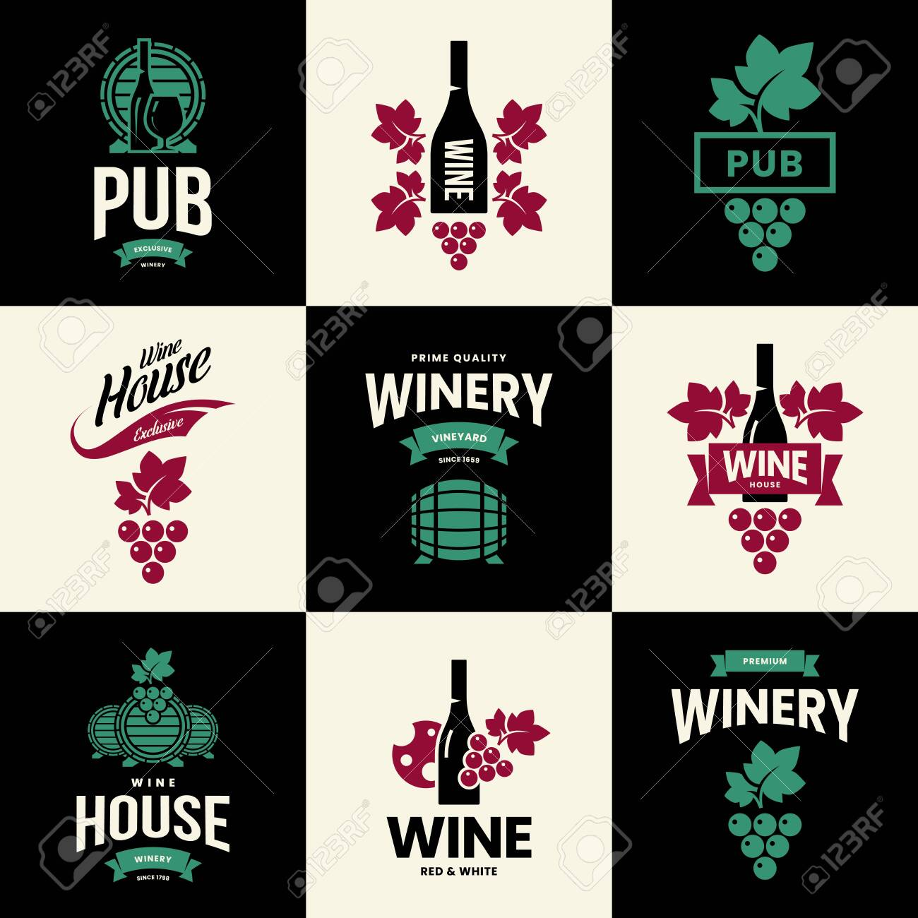 Modern wine vector isolated logo collection for tavern, restaurant, house, shop, store, club and cellar. Premium quality vinery logotype illustration set. Fashion brand badge design template bundle. - 120438792