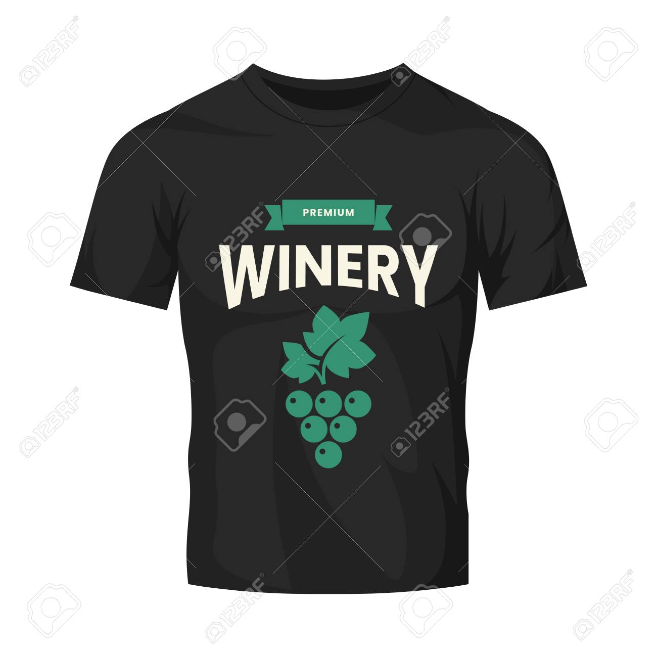 Modern wine vector logo sign for tavern, restaurant, house, shop, store, club and cellar isolated on black t-shirt mock up. Premium quality vinery logotype illustration. Fashion badge design template. - 120438819