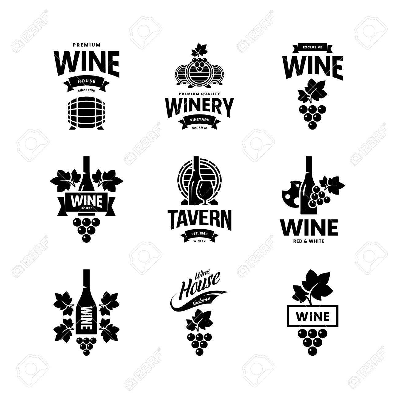Modern wine vector isolated logo collection for tavern, restaurant, house, shop, store, club and cellar. Premium quality vinery logotype illustration set. Fashion brand badge design template bundle. - 120438821