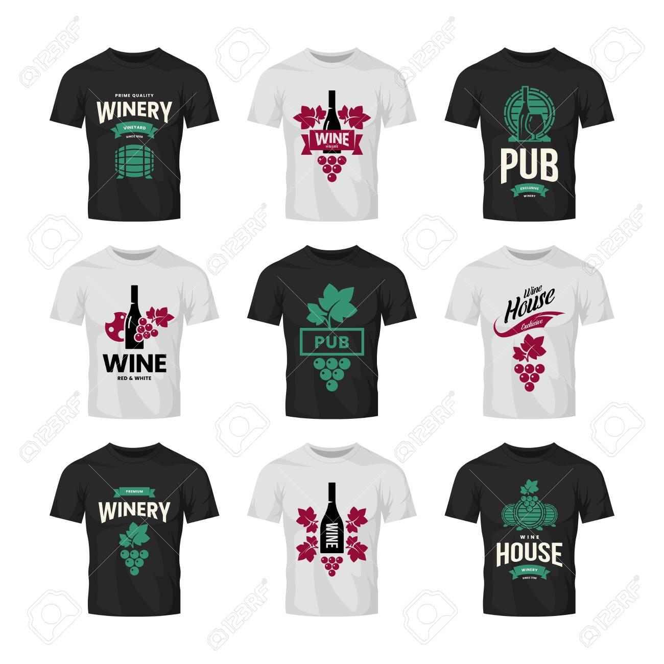 Modern wine vector logo collection for tavern, restaurant, shop, store, club and cellar on t-shirt mock up. Premium quality vinery logotype illustration set. Fashion brand badge design template bundle. - 120438822