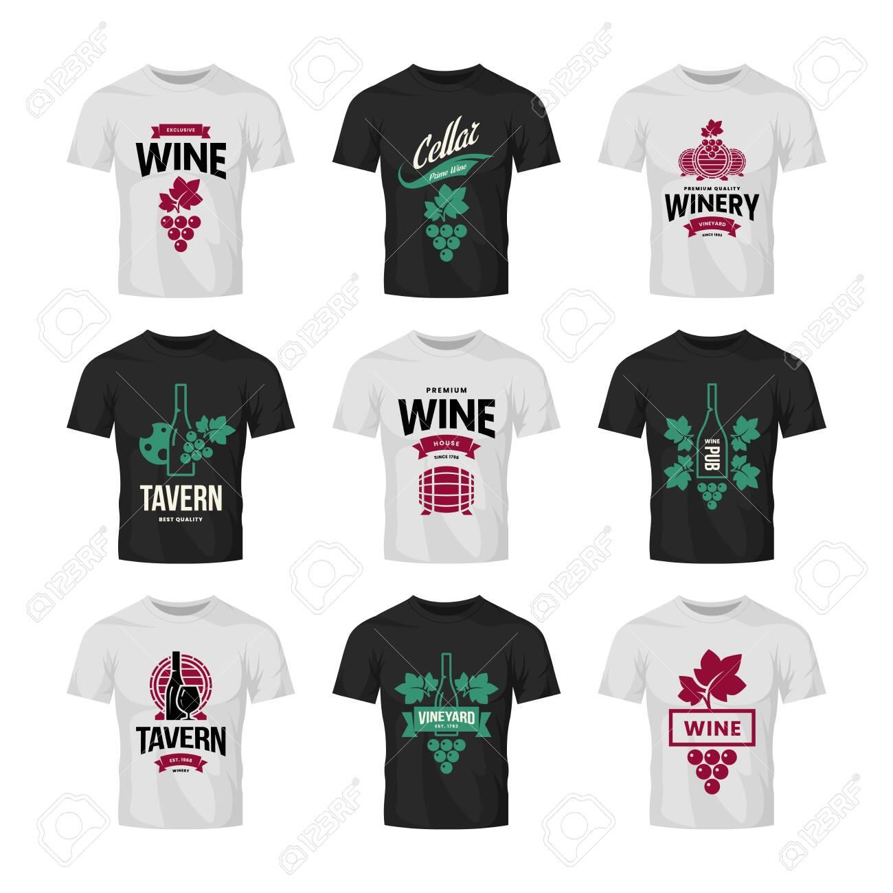 Modern wine vector logo collection for tavern, restaurant, shop, store, club and cellar on t-shirt mock up. Premium quality vinery logotype illustration set. Fashion brand badge design template bundle. - 120438823
