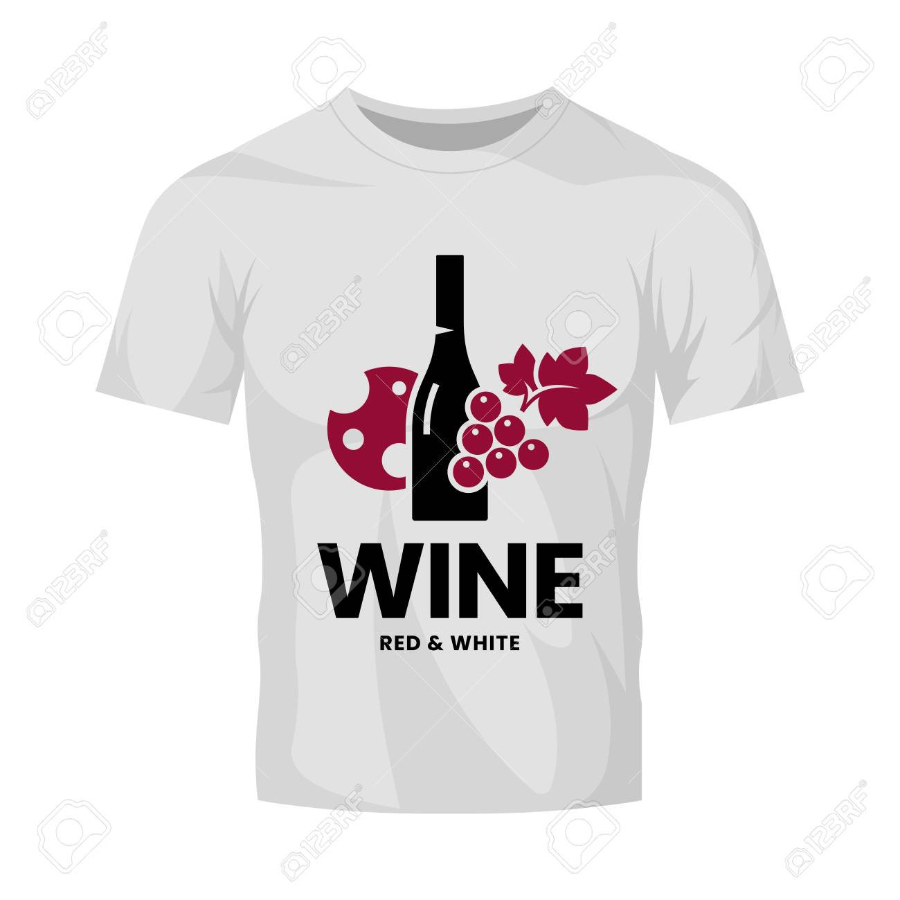 Modern wine vector logo sign for tavern, restaurant, house, shop, store, club and cellar isolated on white t-shirt mock up. Premium quality vinery logotype illustration. Fashion badge design template. - 126498807