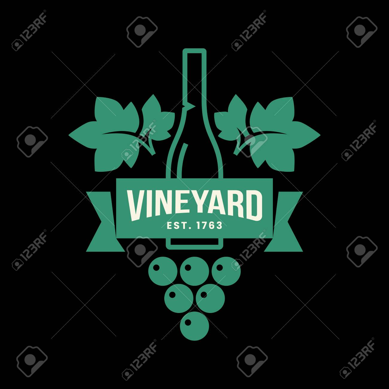Modern wine vector logo sign for tavern, restaurant, house, shop, store, club and cellar isolated on black background. Premium quality vinery logotype illustration. Fashion brand badge design template. - 126498818