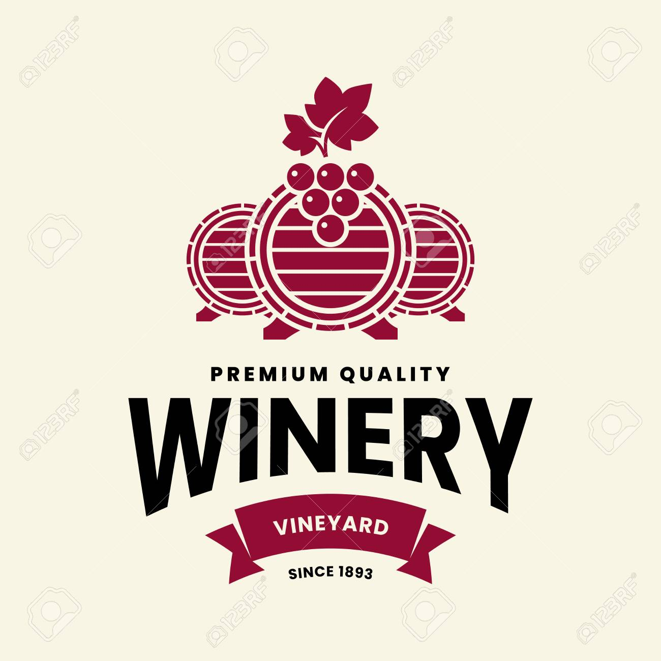 Modern wine vector logo sign for tavern, restaurant, house, shop, store, club and cellar isolated on light background. Premium quality vinery logotype illustration. Fashion brand badge design template. - 126498879