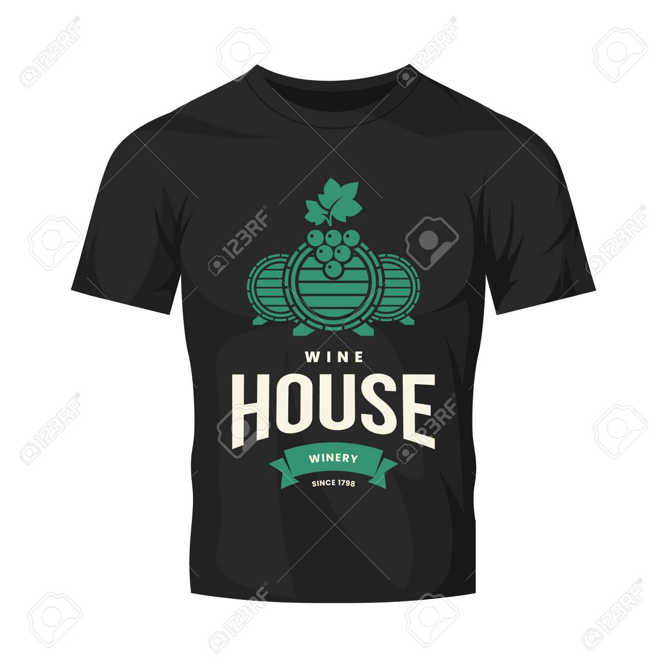 Modern wine vector logo sign for tavern, restaurant, house, shop, store, club and cellar isolated on black t-shirt mock up. Premium quality vinery logotype illustration. Fashion badge design template. - 126498880