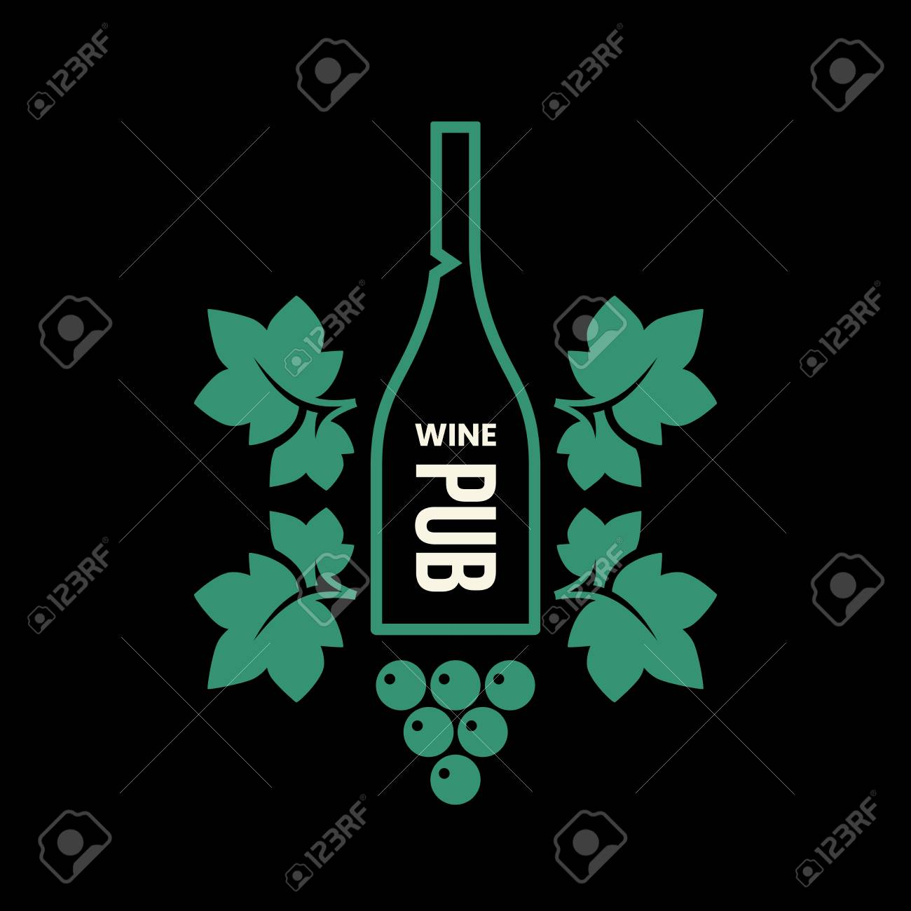 Modern wine vector logo sign for tavern, restaurant, house, shop, store, club and cellar isolated on black background. Premium quality vinery logotype illustration. Fashion brand badge design template. - 126498882