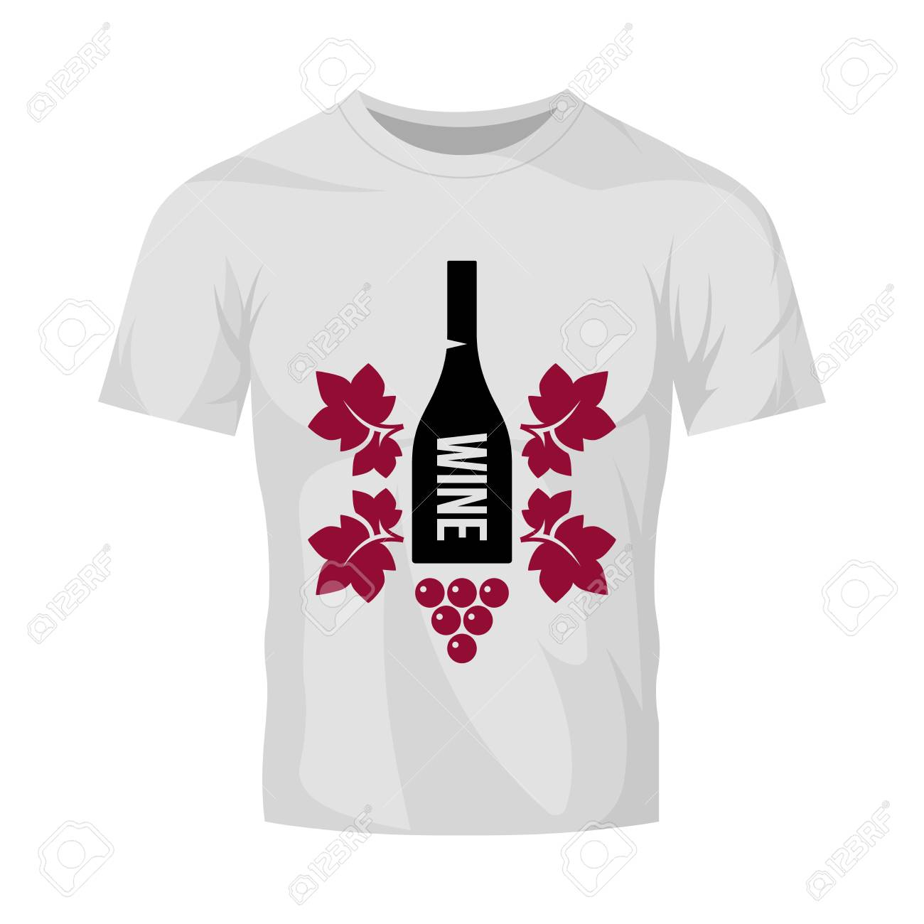 Modern wine vector logo sign for tavern, restaurant, house, shop, store, club and cellar isolated on white t-shirt mock up. Premium quality vinery logotype illustration. Fashion badge design template. - 126498885