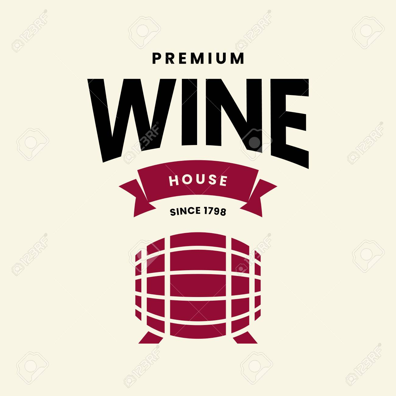 Modern wine vector logo sign for tavern, restaurant, house, shop, store, club and cellar isolated on light background. Premium quality vinery logotype illustration. Fashion brand badge design template. - 126498888
