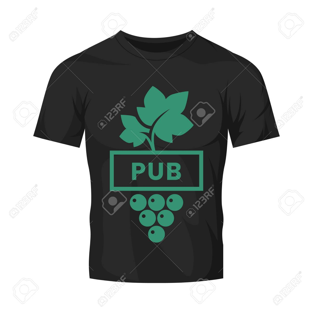 Modern wine vector logo sign for tavern, restaurant, house, shop, store, club and cellar isolated on black t-shirt mock up. Premium quality vinery logotype illustration. Fashion badge design template. - 126498890
