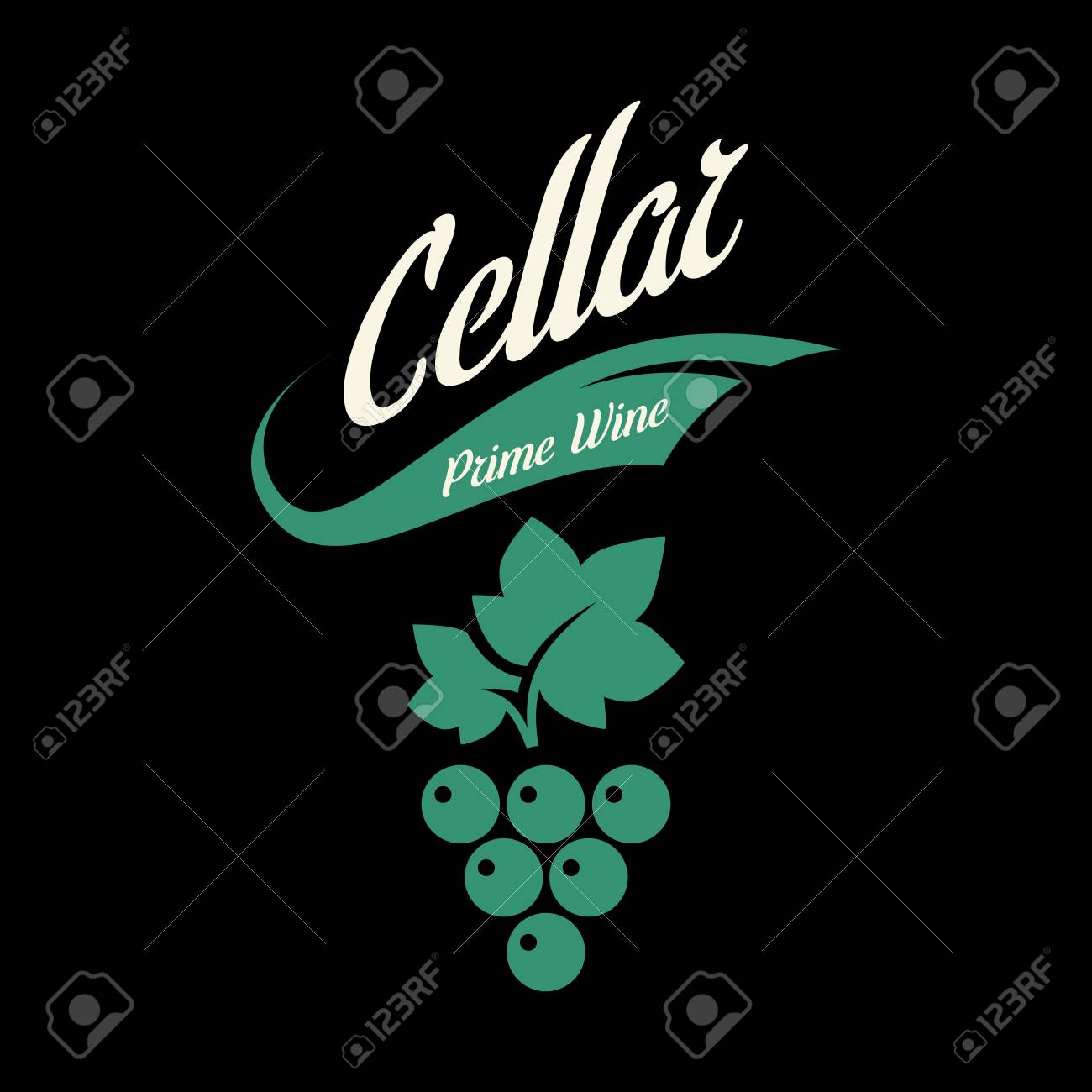 Modern wine vector logo sign for tavern, restaurant, house, shop, store, club and cellar isolated on black background. Premium quality vinery logotype illustration. Fashion brand badge design template. - 126498894