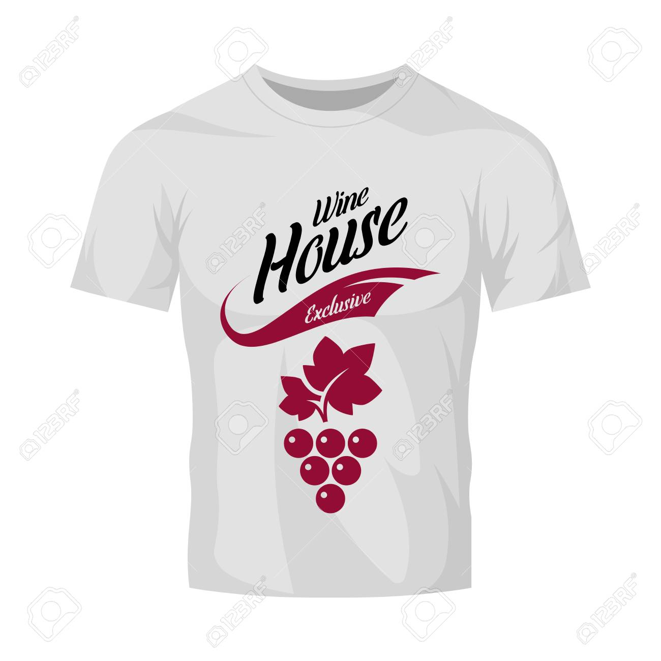 Modern wine vector logo sign for tavern, restaurant, house, shop, store, club and cellar isolated on white t-shirt mock up. Premium quality vinery logotype illustration. Fashion badge design template. - 126498895