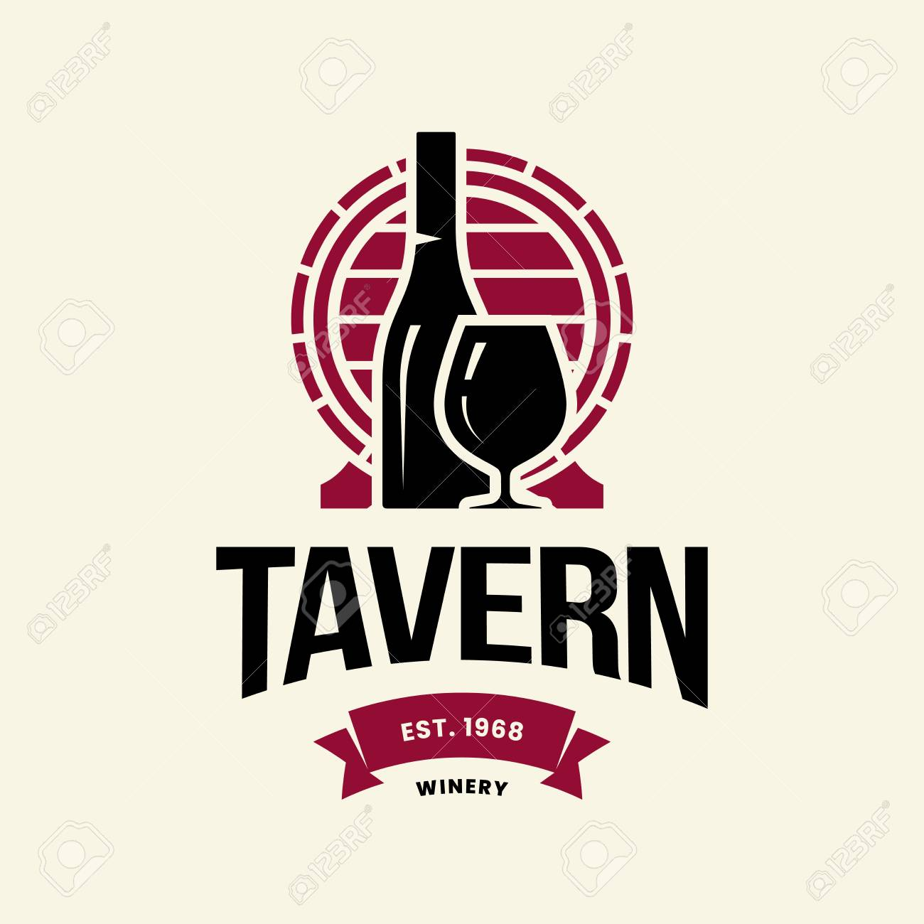 Modern wine vector logo sign for tavern, restaurant, house, shop, store, club and cellar isolated on light background. Premium quality vinery logotype illustration. Fashion brand badge design template. - 126498896