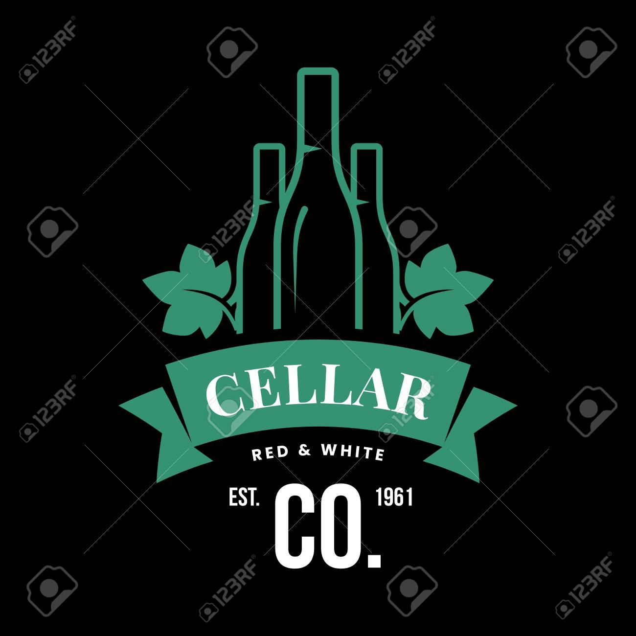 Modern wine vector logo sign for tavern, restaurant, house, shop, store, club and cellar isolated on black background. Premium quality vinery logotype illustration. Fashion brand badge design template. - 126498901