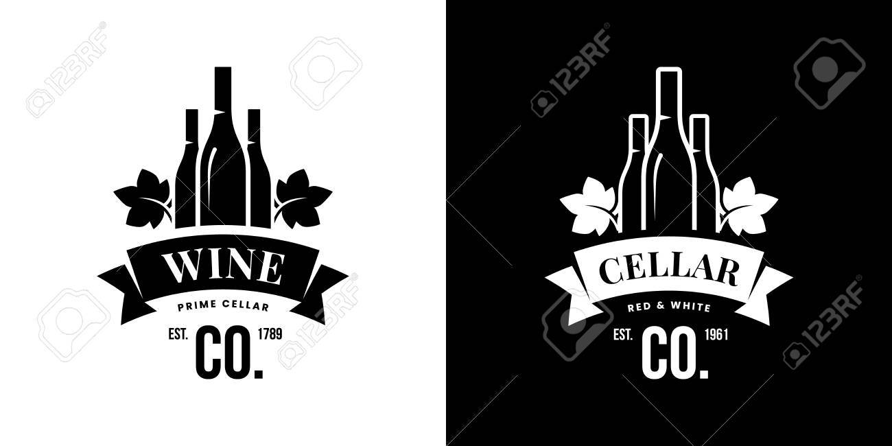Modern wine vector isolated logo sign for pub, tavern, restaurant, house, shop, store, club and cellar. Premium quality vinery logotype illustration set. Fashion brand badge design template bundle. - 126498904