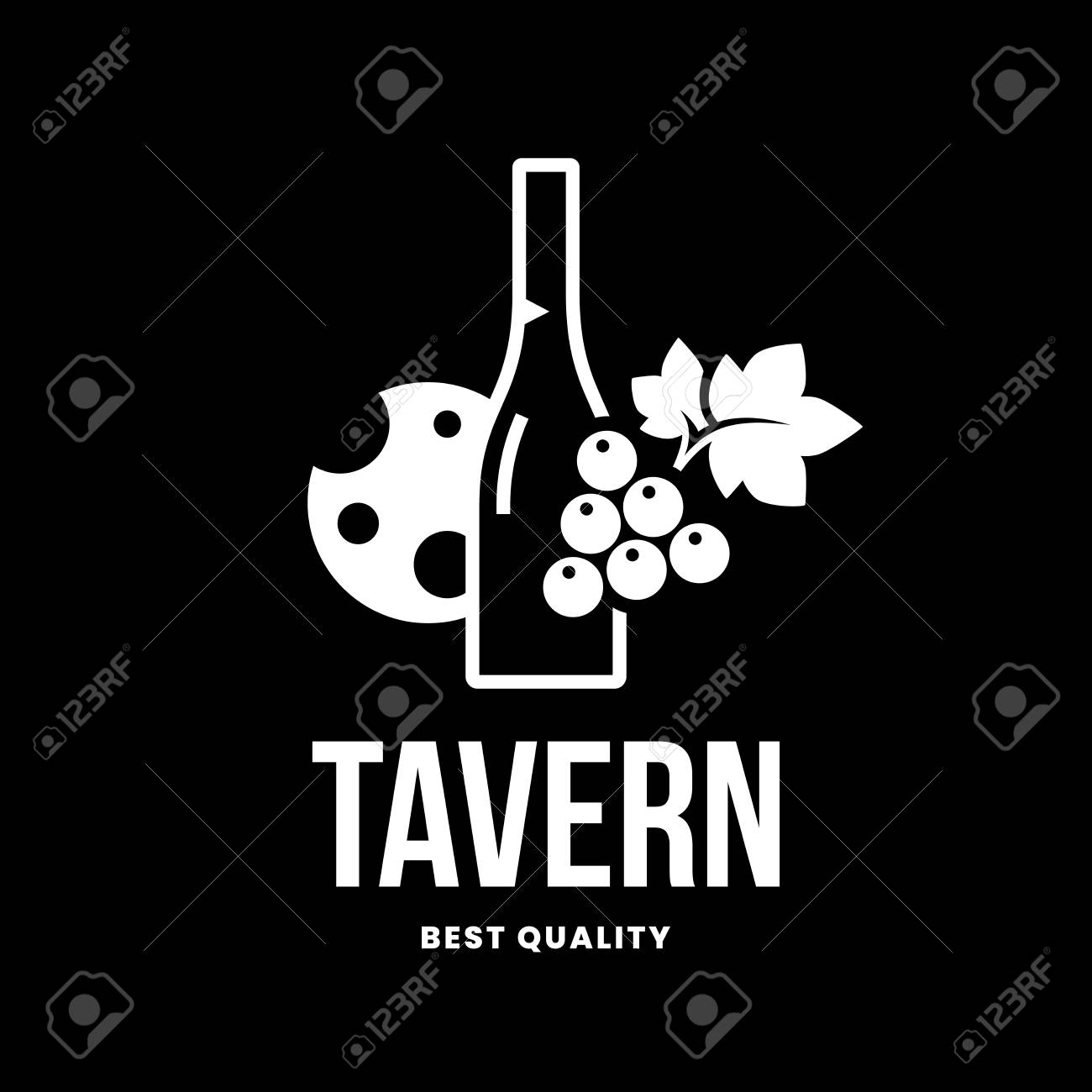 Modern wine vector logo sign for tavern, restaurant, house, shop, store, club and cellar isolated on black background. Premium quality vinery logotype illustration. Fashion brand badge design template. - 126498929