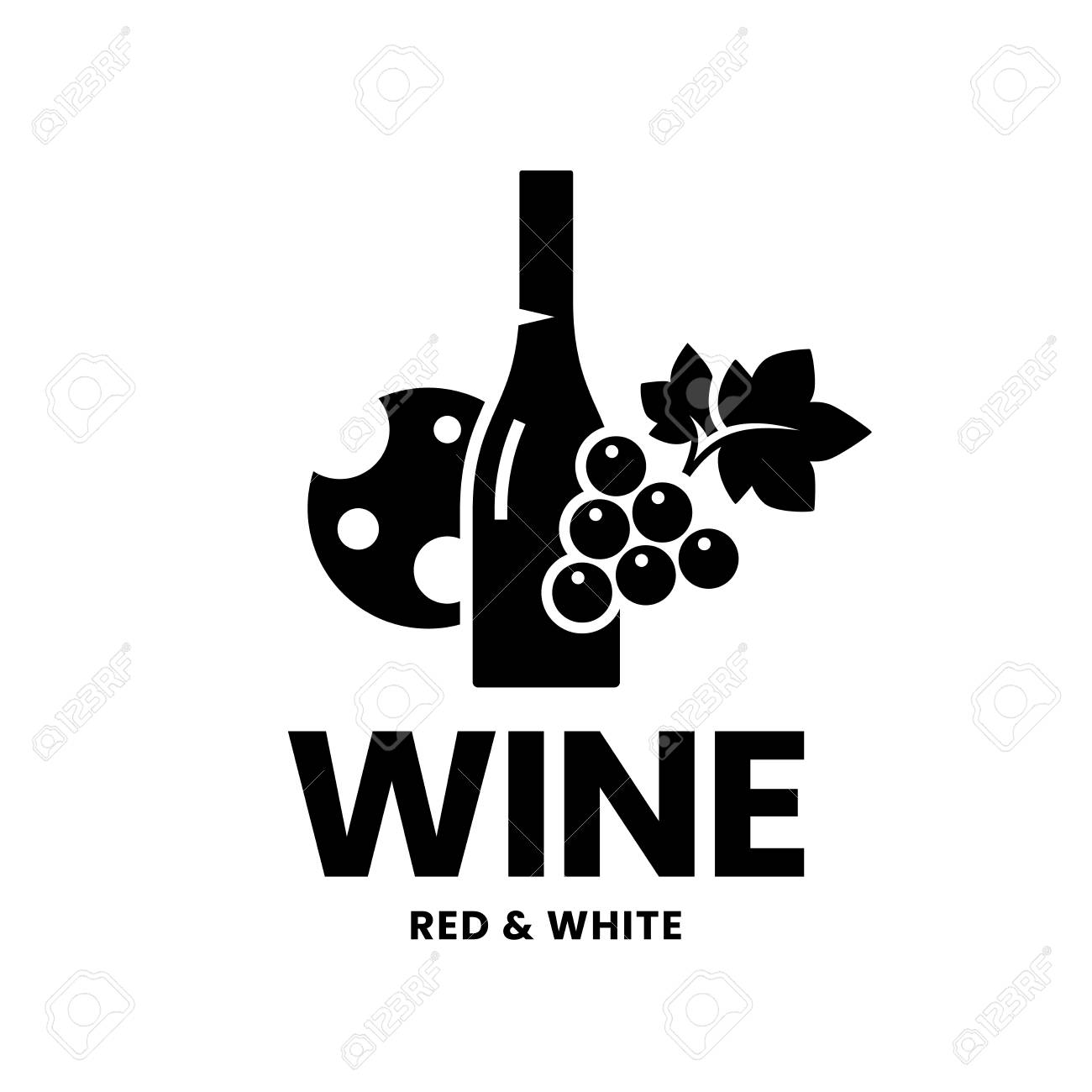 Modern wine vector logo sign for tavern, restaurant, house, shop, store, club and cellar isolated on white background. Premium quality vinery logotype illustration. Fashion brand badge design template. - 126498930