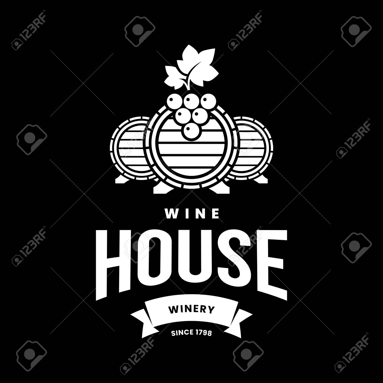 Modern wine vector logo sign for tavern, restaurant, house, shop, store, club and cellar isolated on black background. Premium quality vinery logotype illustration. Fashion brand badge design template. - 126498934