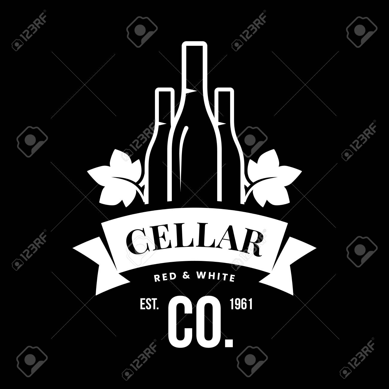 Modern wine vector logo sign for tavern, restaurant, house, shop, store, club and cellar isolated on black background. Premium quality vinery logotype illustration. Fashion brand badge design template. - 126498938