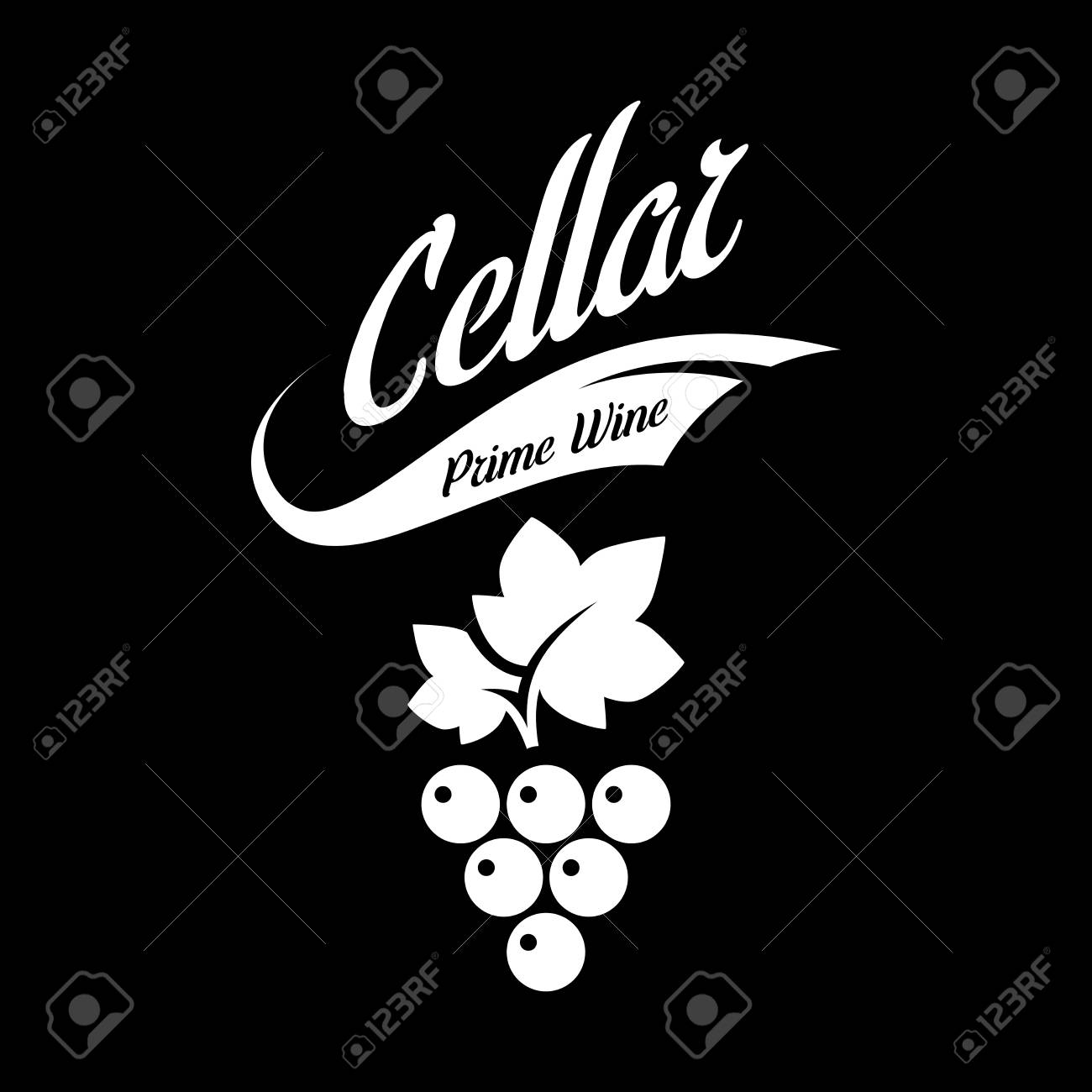 Modern wine vector logo sign for tavern, restaurant, house, shop, store, club and cellar isolated on black background. Premium quality vinery logotype illustration. Fashion brand badge design template. - 126498940