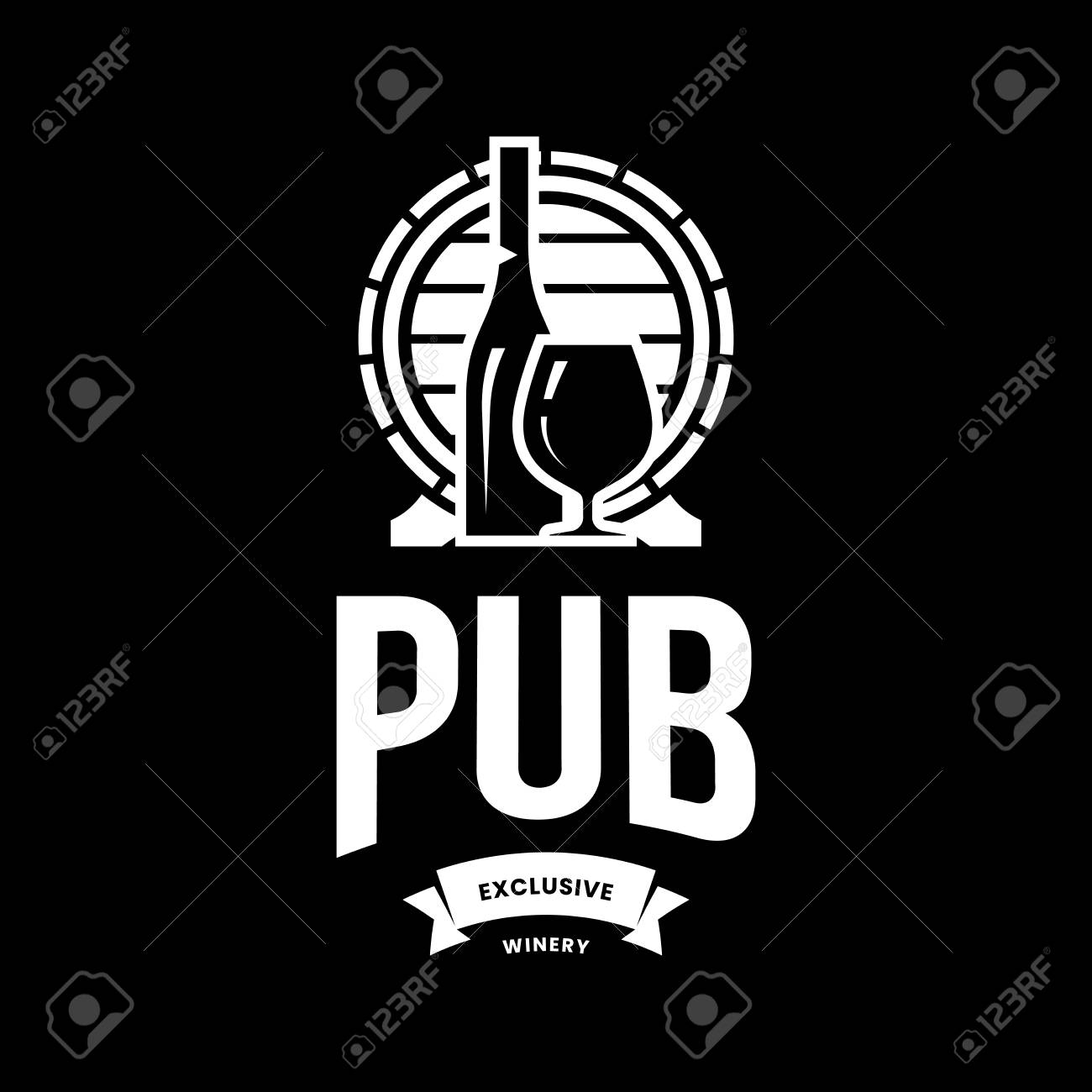Modern wine vector logo sign for tavern, restaurant, house, shop, store, club and cellar isolated on black background. Premium quality vinery logotype illustration. Fashion brand badge design template. - 126498942