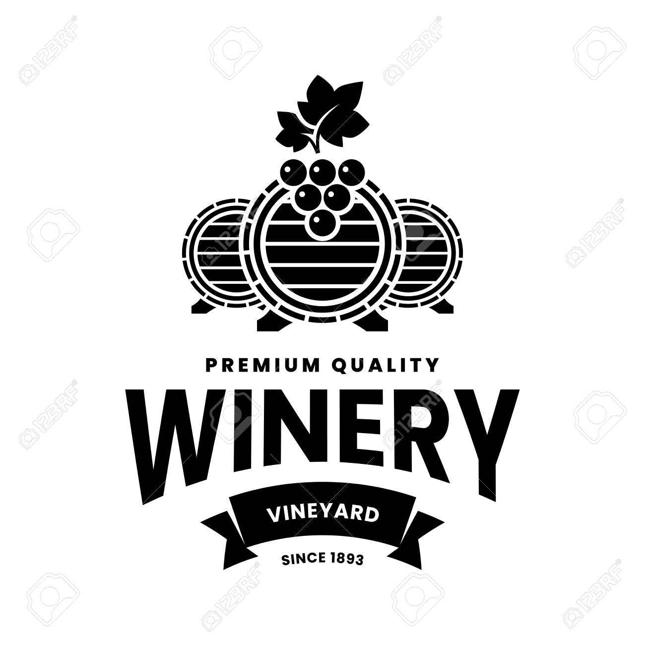 Modern wine vector logo sign for tavern, restaurant, house, shop, store, club and cellar isolated on white background. Premium quality vinery logotype illustration. Fashion brand badge design template. - 126106197