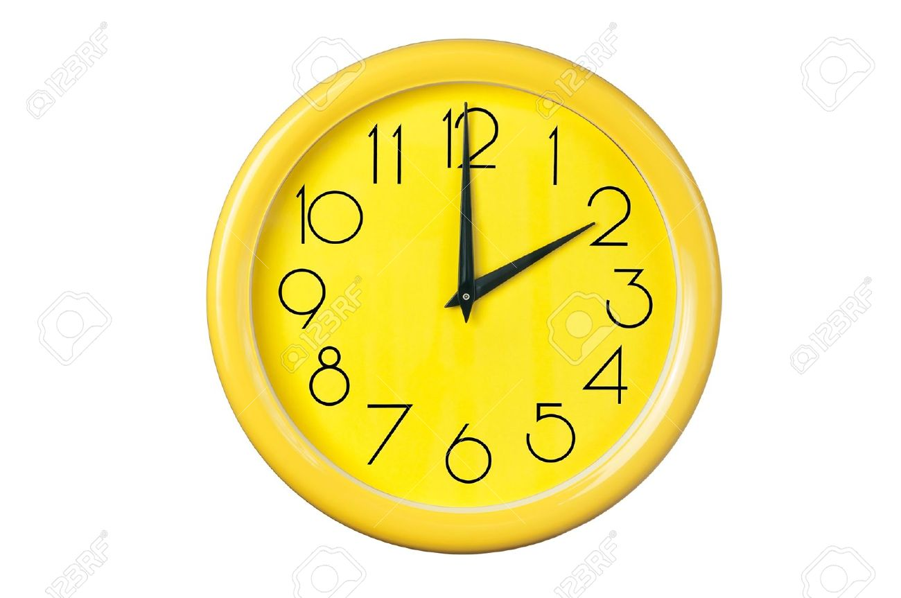 yellow clock on a white background Stock Photo - 13137916
