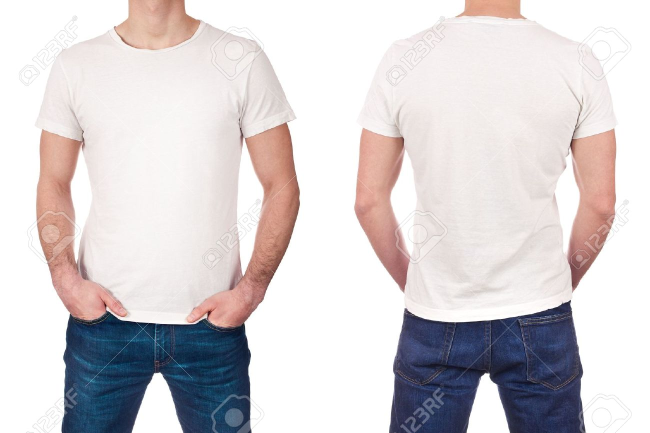front and back view of young man wearing blank white t shirt stock