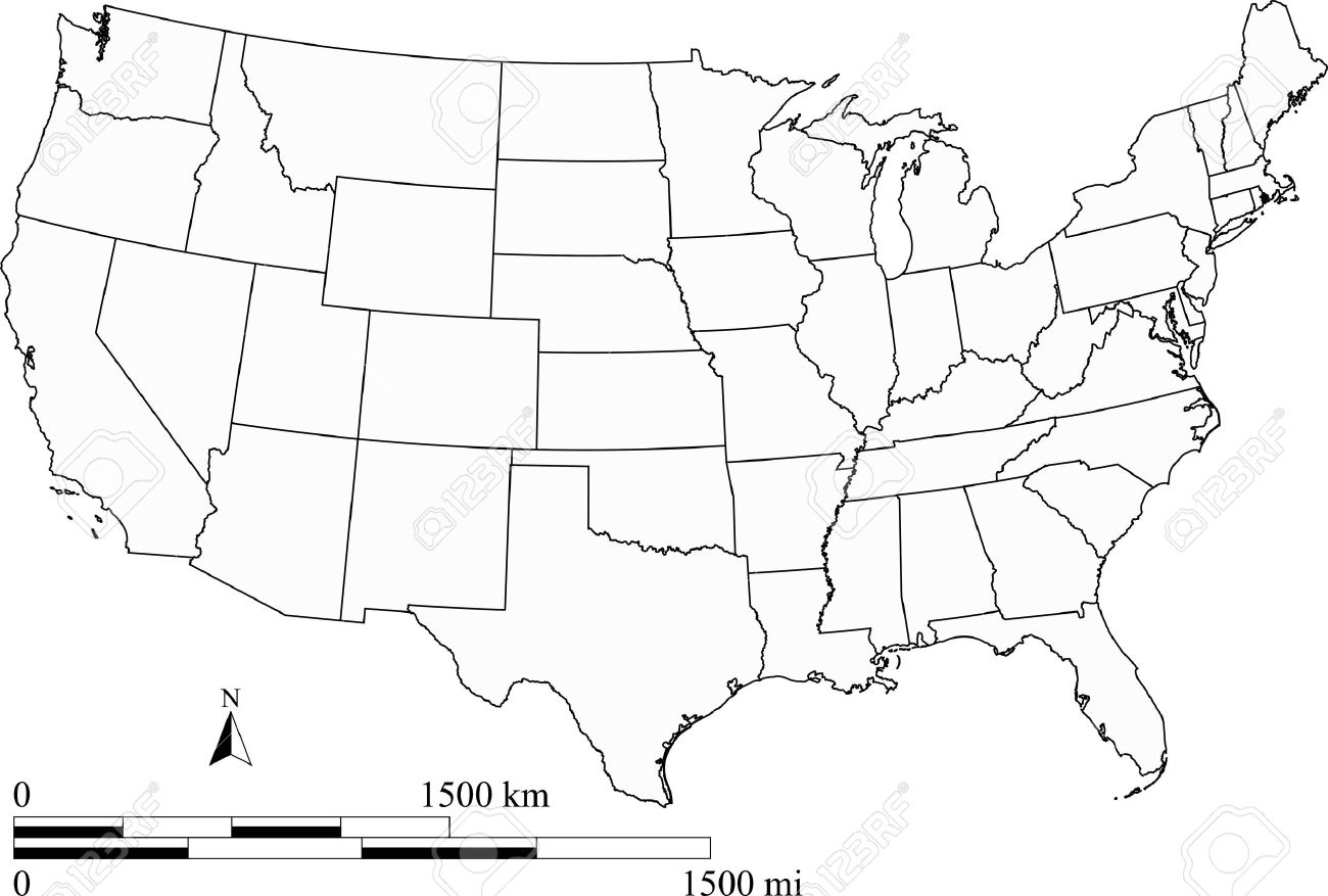 United States of America map with scale