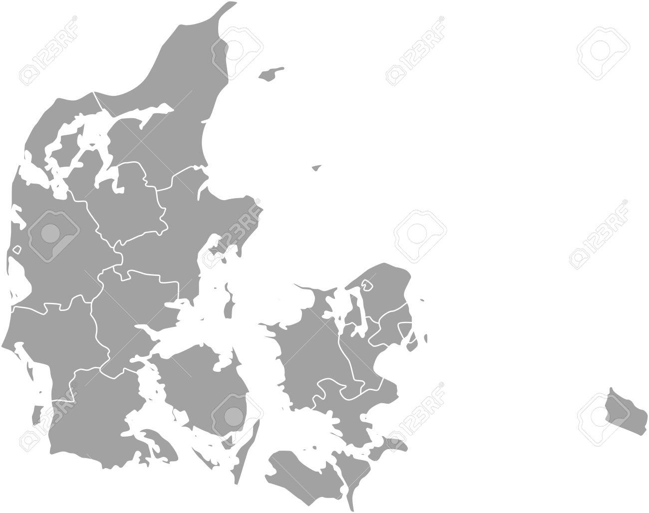 dänemark karte umriss Dänemark Karte Umriss Mit Grenzen Der Provinzen Oder Staaten