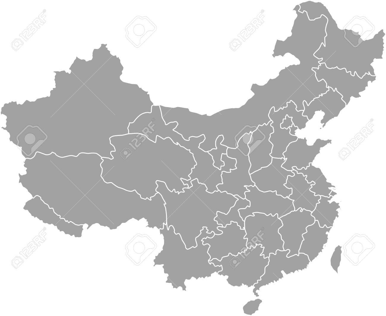 China Map Outline With Borders Of Provinces Or States Royalty Free