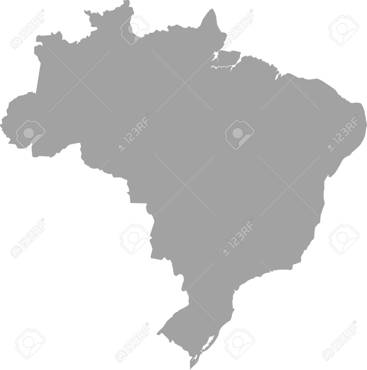 Brazil Map Outline Vector In Gray Color Royalty Free Cliparts